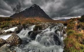 Wallpaper mountain, grass, tree, clouds, Waterfall