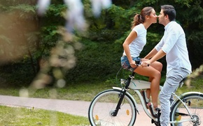 Picture girl, love, bicycle, woman, man, kiss, boy, mood, trail, feeling, Couple