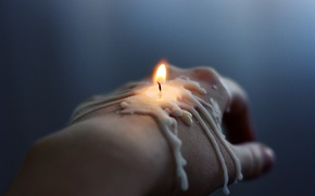 Picture fire, hand, candle, wick, wax, brush