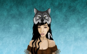 Picture girl, wolf, feathers, mask, Indian, wolf, indian, Indian