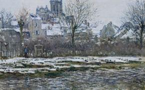 Picture landscape, picture, Claude Monet, Vétheuil. Church. Snow