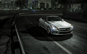Picture car, night, Mercedes, Roadster, rechange, SL550