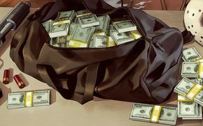 Wallpaper Cartridges, Weapons, Mask, Money, Dollar, Bag, Grand Theft Auto V, Rockstar North, Rockstar Games