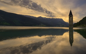 Picture sunset, mountains, lake, the evening, Italy, chapel