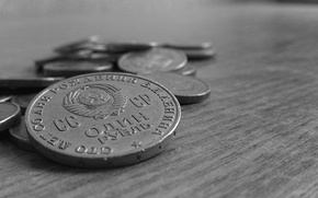Picture Coins, Table, Hammer, USSR, Hammer, Lenin, Coat of arms, Money, Black and white, The ruble