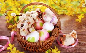 Picture flowers, nature, basket, toys, eggs, branch, spring, yellow, Easter, sheep, Verba, painted
