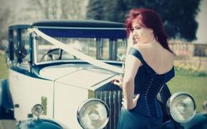 Picture car, retro, rolls royce, wedding, Laura Ruffell
