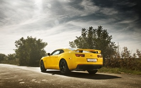 Picture road, yellow, Chevrolet, camaro, chevrolet, muscle car, Camaro