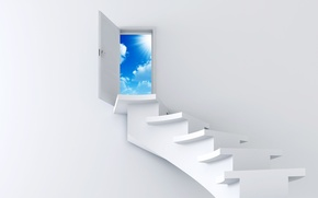 Wallpaper Ladder, The sky, White, The door