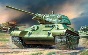 Picture attack, figure, art, tank, A IV, tanks, German, average, burning, T-34-76, Soviet, The great Patriotic …