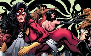 Picture Wolverine, Marvel Comics, Spider-Man, Spider-Woman, Nick Fury, Tigra, Jessica Drew, Greer Grant