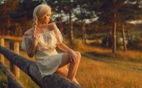 Wallpaper girl, dress, blonde, braid, girl, model, Nathan Photography, Tonny Jorgensen, Mette Munko