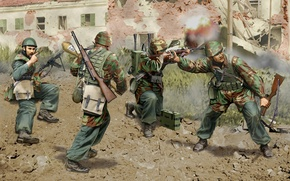 Picture the city, weapons, war, street, figure, art, equipment, ammunition, machines, WW2, carbines, Italian paratroopers, Faust …