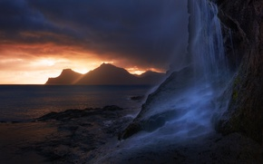 Picture sea, the sky, light, mountains, clouds, nature, rocks, waterfall