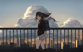 Picture the sky, girl, clouds, the city, home, anime, art, form, schoolgirl, idolmaster, levi9452, shibuya rin