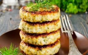 Picture plug, cakes, burgers, pancakes, Closeup, Baking, Fork