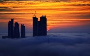 Picture the sky, clouds, sunset, fog, home, UAE, Abu Dhabi, United Arab Emirates, Filippo Photos