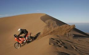 Picture sand, desert, barkhan, motorcycle, racer, rally, Dakar