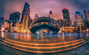 Picture the city, lights, the evening, Chicago, USA