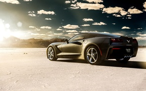 Picture car, lake, desert, Corvette, Chevrolet, black, rear, Stingray