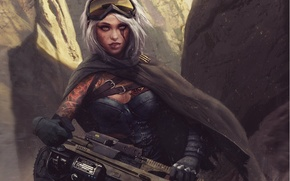 Picture look, girl, weapons, fiction, tattoo, art