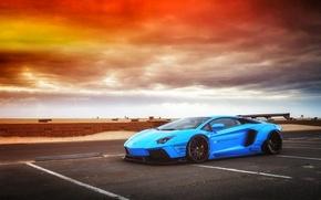 Wallpaper Lamborghini, Sky, Blue, Front, Sunset, Aventador, Supercar, LP720-4, Liberty, Walk, LB Perfomance