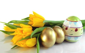 Picture eggs, yellow, Easter, tulips