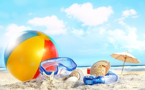 Picture sea, beach, summer, the sky, clouds, beach, sky, sea, nature, clouds, sand, ball, shells