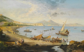 Picture picture, painting, painting, Fishermen in the Bay of Naples, Ferrante