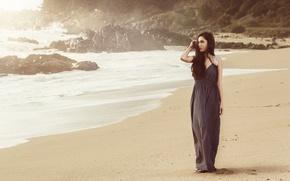 Picture sand, sea, wave, beach, the ocean, brunette