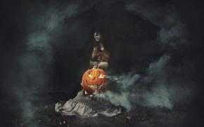 Picture girl, holiday, pumpkin, Halloween Secrets