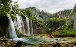 Picture forest, stream, rocks, waterfalls, Croatia, Plitvice Lakes