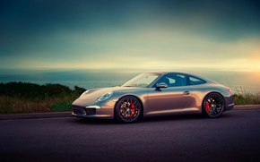 Picture road, sea, the sky, porsche, carrera, 991