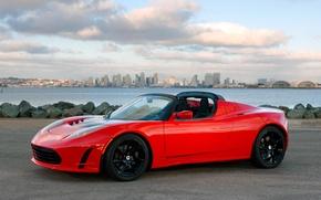 Picture car, auto, city, the city, Wallpaper, Roadster, sky, Tesla, Sport
