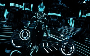 Picture chest, girl, rendering, fiction, costume, tron, light bike