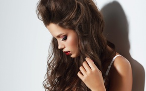 Picture girl, profile, model. makeup, hair. background