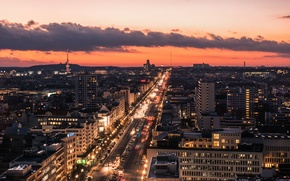 Picture clouds, Avenue, tower, Germany, traffic, twilight, cars, Berlin