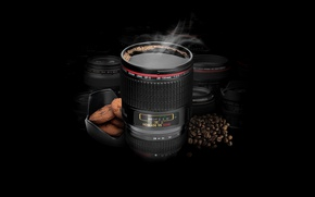 Picture coffee, cookies, black, coffee beans, beans, lens, coffe, cookies