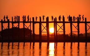 Picture sea, water, sunset, bridge, people, silhouettes, Landscape, bridge, sunset, water, people, Myanmar, Burma, travel, Myanmar, ...