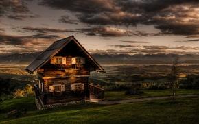 Wallpaper Romantic Cottage, magdalensberg austria, Romantic Cottage, mountains, Austria, greens, clouds, HDR, carinthia austria