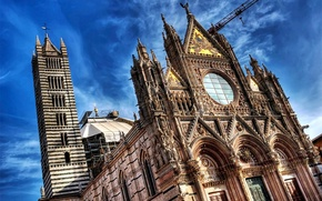 Picture cathedral, sky, Italy, art, clouds, architecture, Tuscany, church, Siena, bell tower