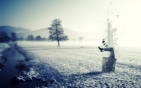 Picture ice, winter, snow, landscape, nature, purity, fog, style, river, garbage, in the snow, half, in ...