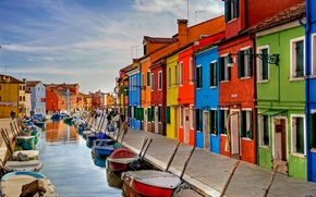 Wallpaper paint, home, boats, Italy, Venice, channel, Burano island