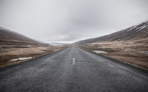 Wallpaper hills, road, the sky, horizon, clouds