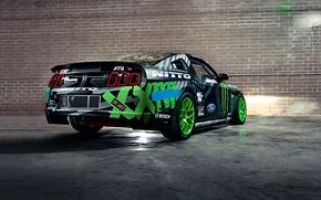 Picture Mustang, Ford, Drift, Wall, Green, Black, RTR, Team, Competition, Sportcar, Vaughn Gittin Jr, Monster energy