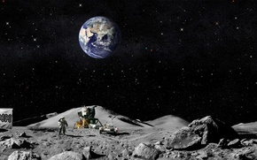 Wallpaper flag, earth, the moon, Americans, The astronauts