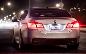 Picture night, BMW, white, rear, F10, 5 Series, b1mmr