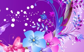 Picture flowers, abstraction, butterfly, vector, postcard