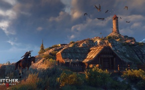 Picture horse, lighthouse, island, hut, the Witcher, harpies, Geralt, The Witcher 3: Wild Hunt, The Witcher …