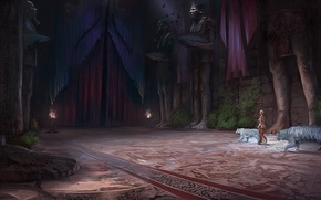 Picture woman, art, statue, hall, tigers, priestess, Palace